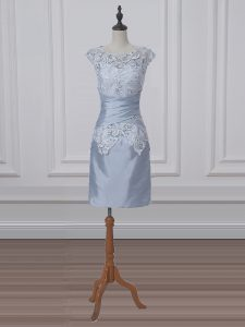 Deluxe Grey Zipper Mother Of The Bride Dress Lace and Appliques Short Sleeves Mini Length