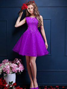 Attractive Sleeveless Knee Length Beading and Lace Lace Up Bridesmaid Dresses with Eggplant Purple
