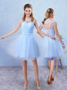 Tulle Sleeveless Knee Length Bridesmaid Gown and Ruching and Belt