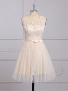 Champagne A-line Appliques and Belt Wedding Guest Dresses Lace Up Lace Sleeveless Mini Length