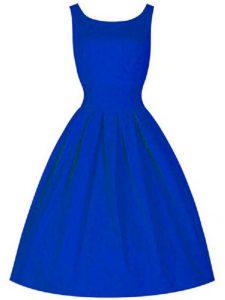Royal Blue Taffeta Lace Up High-neck Sleeveless Knee Length Wedding Guest Dresses Ruching