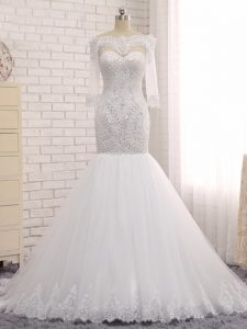 New Style Floor Length Zipper Bridal Gown White for Wedding Party with Beading and Lace