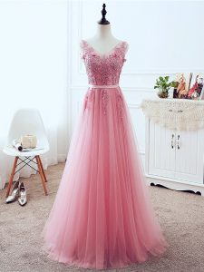Luxury V-neck Sleeveless Tulle Evening Dress Lace and Appliques and Belt Lace Up