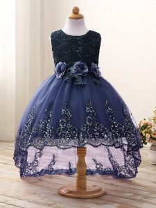 Scoop Sleeveless Tulle Toddler Flower Girl Dress Lace and Appliques and Bowknot and Hand Made Flower Zipper