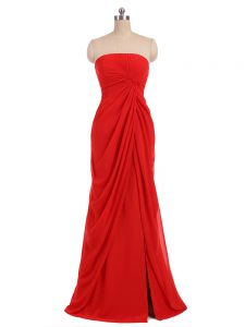 Sophisticated Red Strapless Neckline Ruching Wedding Guest Dresses Sleeveless Zipper