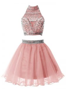 Most Popular Pink Quinceanera Dama Dress Party and Wedding Party with Beading High-neck Sleeveless Zipper