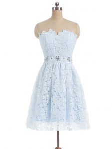 Light Blue Sleeveless Beading and Lace and Appliques Mini Length Prom Dresses