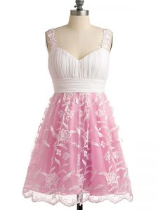 Knee Length Rose Pink Vestidos de Damas Straps Sleeveless Lace Up