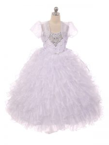 White Lace Up Little Girl Pageant Gowns Beading and Ruffles Sleeveless Floor Length