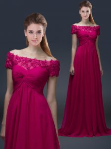 Custom Design Fuchsia Off The Shoulder Neckline Appliques Mother Of The Bride Dress Short Sleeves Lace Up