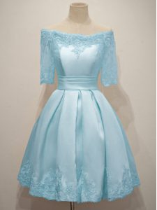 Modest Taffeta Off The Shoulder Half Sleeves Lace Up Lace Damas Dress in Light Blue