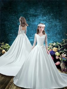 Super White Taffeta Lace Up Flower Girl Dresses 3 4 Length Sleeve Court Train Lace and Bowknot