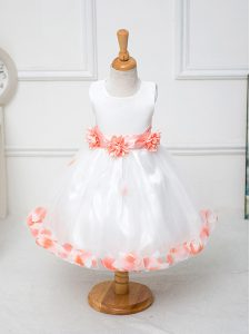 Inexpensive White Sleeveless Tulle Zipper Kids Pageant Dress for Wedding Party