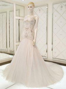 White Sleeveless Beading Side Zipper Wedding Dresses