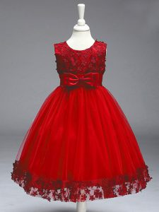 Wine Red A-line Tulle Scoop Sleeveless Lace and Bowknot Knee Length Zipper Flower Girl Dress