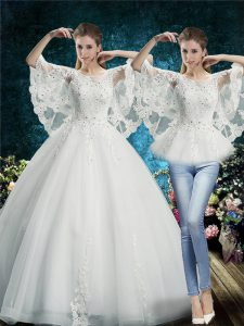 White Lace Up Bridal Gown Lace Half Sleeves Floor Length