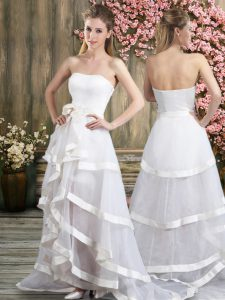 Best Sleeveless Sweep Train Backless Ruffled Layers and Belt Wedding Gowns
