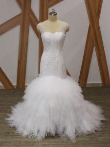 Captivating White V-neck Lace Up Beading and Ruffles Wedding Dresses Brush Train Sleeveless