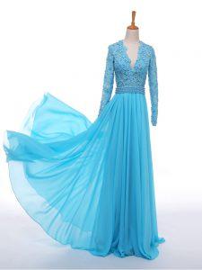 Floor Length Empire Long Sleeves Baby Blue Evening Wear Zipper