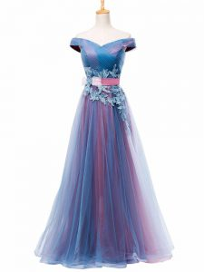 Multi-color A-line Tulle Off The Shoulder Sleeveless Appliques and Ruching and Belt Floor Length Lace Up