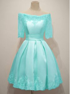 Taffeta Off The Shoulder Half Sleeves Lace Up Lace Wedding Party Dress in Aqua Blue
