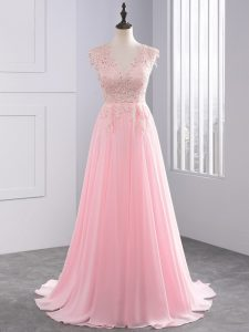 Baby Pink V-neck Neckline Lace and Appliques Prom Party Dress Sleeveless Side Zipper