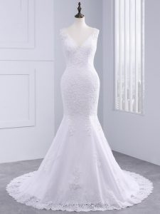 Charming White Wedding Dress Tulle Brush Train Sleeveless Lace