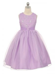 Unique Lavender Scoop Neckline Beading Little Girl Pageant Dress Sleeveless Lace Up