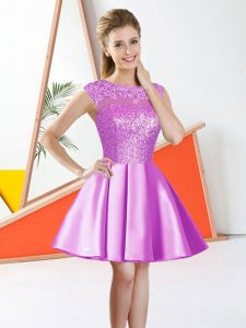 Dynamic Lilac Backless Quinceanera Court Dresses Beading and Lace Sleeveless Knee Length