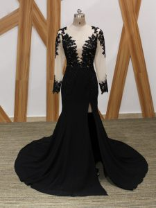 Pretty Black Long Sleeves Brush Train Lace and Appliques Mother Of The Bride Dress