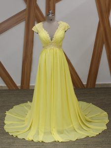 Yellow Short Sleeves Chiffon Brush Train Zipper Prom Party Dress for Prom and Military Ball and Sweet 16