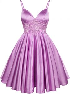 Fancy Knee Length Lilac Quinceanera Dama Dress Elastic Woven Satin Sleeveless Lace