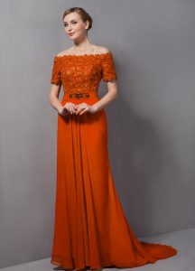 Orange Off The Shoulder Neckline Lace Mother Of The Bride Dress Short Sleeves Zipper