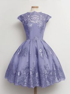 Fashion Lavender A-line Tulle Scalloped Cap Sleeves Lace Knee Length Lace Up Damas Dress