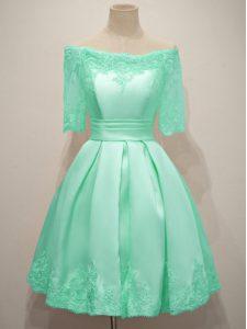 Knee Length Turquoise Quinceanera Dama Dress Taffeta Half Sleeves Lace