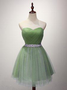 Sleeveless Beading and Ruching Lace Up Dama Dress