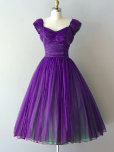 Purple V-neck Neckline Ruching Dama Dress for Quinceanera Cap Sleeves Lace Up