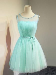 Fashion Knee Length Apple Green Quinceanera Court Dresses Tulle Sleeveless Belt