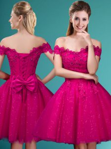 Captivating Off The Shoulder Cap Sleeves Wedding Guest Dresses Knee Length Lace and Belt Fuchsia Tulle