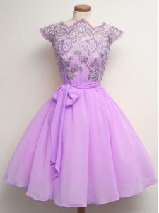 Cap Sleeves Chiffon Knee Length Lace Up Quinceanera Dama Dress in Lilac with Lace and Belt