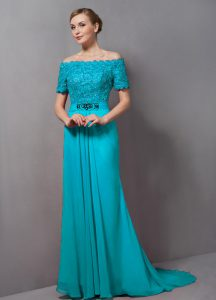 Attractive Chiffon Short Sleeves Mother Of The Bride Dress Sweep Train and Lace