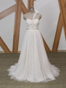Enchanting White Zipper One Shoulder Lace and Appliques Wedding Dress Tulle Sleeveless Brush Train