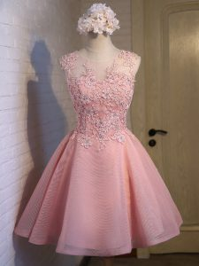 Pink Ball Gowns Scoop Sleeveless Organza Mini Length Lace Up Lace Wedding Party Dress
