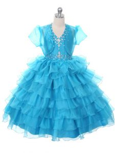 Ball Gowns Kids Pageant Dress Baby Blue Halter Top Organza Sleeveless Floor Length Lace Up