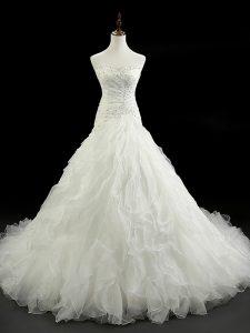 Sleeveless Court Train Lace Up Beading and Ruffles Wedding Dress