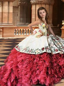 White And Red Child Pageant Dress Strapless Sleeveless Brush Train Lace Up