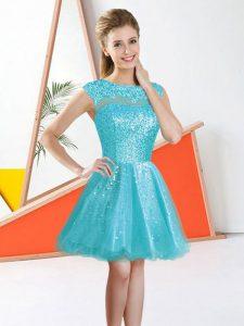 Aqua Blue A-line Organza Bateau Sleeveless Beading and Lace Knee Length Backless Dama Dress for Quinceanera