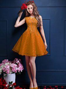 Inexpensive Knee Length Gold Wedding Party Dress Bateau Sleeveless Lace Up