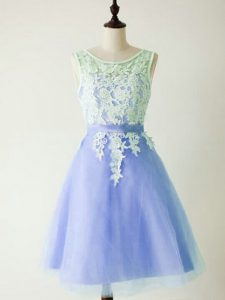 Lace Dama Dress for Quinceanera Light Blue Lace Up Sleeveless Knee Length