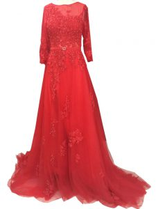 Latest Long Sleeves Tulle Brush Train Zipper Prom Gown in Red with Lace and Appliques and Belt